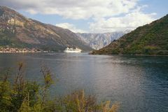 Montenegro. View of the Bay of Kotor with cruise ship. Sailing to Kotor city stock image
