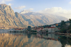 Montenegro. View Lovcen mountain from Bay of Kotor Royalty Free Stock Photos