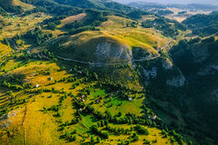 Montenegro village in the mountains - aerial Stock Images