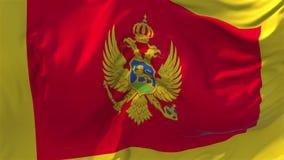 95 Montenegro Vlag die op Achtergrond van de Wind de Ononderbroken Naadloze Lijn golven stock video