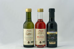 Montenegro wines set. Three bottles of Montenegro wine (white, rose, red) against white background. Montenegrian wines are made from a wide range of grape Stock Photos