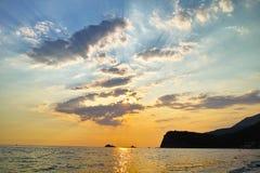 Montenegro zmierzch na morzu śródziemnomorskim Obraz Stock