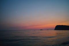 Montenegro zmierzch na morzu śródziemnomorskim Fotografia Stock