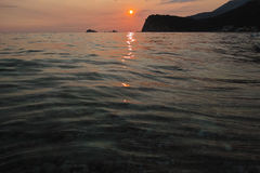 Montenegro zmierzch na morzu śródziemnomorskim Fotografia Royalty Free