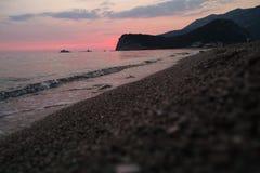Montenegro zmierzch na morzu śródziemnomorskim Zdjęcia Royalty Free