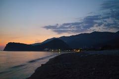 Montenegro zmierzch na morzu śródziemnomorskim Zdjęcie Royalty Free