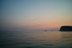 Montenegro zmierzch na morzu śródziemnomorskim Obrazy Stock