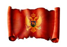Montenrgro flag. Old royal montenegro flag with golden eagle on red Royalty Free Stock Photo