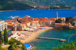 Montenegro. Sea view to the Old Town of Budva in Montenegro Stock Photography