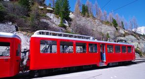 Montenvers  train. Montenvers train at the mer de glace station in french alps Royalty Free Stock Images