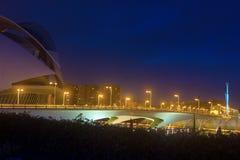 The Monteolivete bridge at night. Valencia, Spain   November 17, 2012: A night view of the Monteolivete bridge. The bridge runs across the City of Arts and Stock Photo