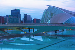 Monteolivete bridge in twilight, The City of Arts and Sciences Royalty Free Stock Photo