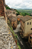 Montepulciano都市风景大角度看法  库存照片