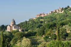 Montepulciano, hilltop town with cathedral in Tuscany Stock Image