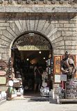 Entrance of traditional wine shop in Montepulciano. MONTEPULCIANO, ITALY - JULY 19, 2017: Entrance of traditional wine shop in Montepulciano, Val d`Orcia stock images