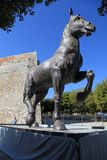 Reproduction of the statue of the horse of Leonardo da Vinci located in Montepulciano, Tuscany, Italy. MONTEPULCIANO, ITALY - JULY 19, 2017: Reproduction of the stock photography