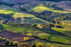 Montepulciano`s hills. Typical hills of Tuscany, as seen from Montepulciano stock image