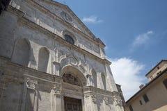 Montepulciano Siena, Italien: historiska byggnader fotografering för bildbyråer