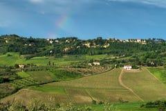 MONTEPULCIANO, TUSCANY/ITALY - 19 DE MAYO: Campo cerca de Montepu Fotos de archivo libres de regalías