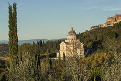 MONTEPULCIANO - TUSCANY/ITALY, OCTOBER 29, 2016: San Biagio church and Montepulciano town in Tuscany, Valdichiana royalty free stock photos