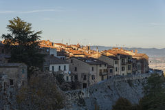 MONTEPULCIANO - TUSCANY/ITALY, 29 OKTOBER, 2016: Oude en middeleeuwse stad van Montepulciano in Toscanië, Valdichiana Stock Foto's