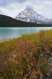 Montera Chephren och Waterflow sjön i nedgångfärg Royaltyfri Foto