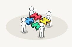 Monterande pussel för grupp människor Partnerskap och affärslösningsbegrepp stock illustrationer