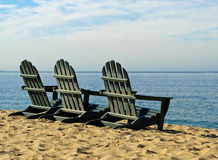 Monterey Bay California beach chairs Royalty Free Stock Images