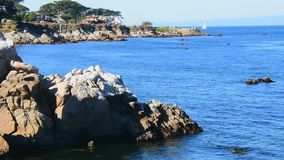 Monterey Bay looking at Lovers Point stock footage