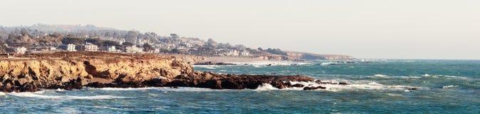Monterey Bay panoramic photo in California USA. Pacific coast in California USA stock photos