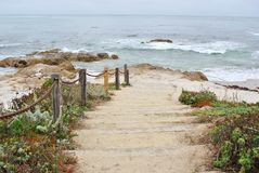 Monterey beach walkway Stock Photo