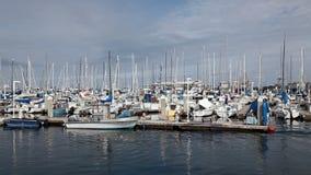 Monterey California Marina Boats And Cloudy Sky almacen de metraje de vídeo