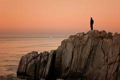 Monterey California, puesta del sol de la punta de los amantes imagen de archivo libre de regalías