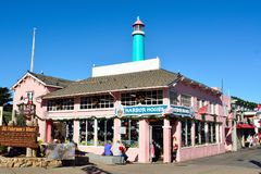 Historic buildings of Old Fishermen Wharf in Monterey, CA stock photography
