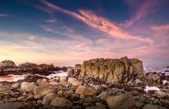 Monterey Kalifornien solnedgång Fotografering för Bildbyråer