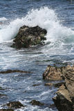 Monterey Ocean Wave. Wave crashing on rock along 17-Mile Drive on Northern California Pebble Beach coast between Monterey and Carmel. Rocks, water and foam in Royalty Free Stock Images