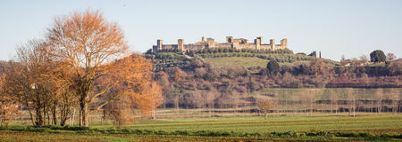 Monteriggioni,托斯卡纳,意大利全景  免版税库存照片