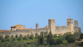 Monteriggioni, Сиена, Италия Ландшафт трутня воздушный чудесной средневековой деревни Италия Тоскана стоковое изображение