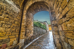 Monteriggioni city wall at sunset. Italy Stock Photography