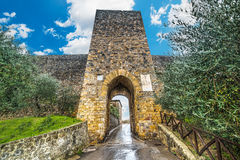 Monteriggioni city wall under clouds,. Italy Royalty Free Stock Photo