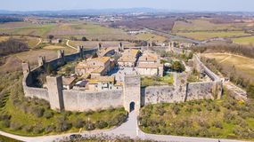 Monteriggioni, Siena, Italy. Drone aerial landscape of the wonderful medieval village. Tuscany, Italy. Monteriggioni, Siena, Italy. Drone aerial landscape of the Stock Image