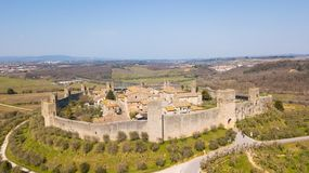 Monteriggioni, Siena, Italy. Drone aerial landscape of the wonderful medieval village. Tuscany, Italy. Monteriggioni, Siena, Italy. Drone aerial landscape of the Royalty Free Stock Photography