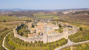 Monteriggioni, Siena, Italy. Drone aerial landscape of the wonderful medieval village. Tuscany, Italy. Monteriggioni, Siena, Italy. Drone aerial landscape of the Royalty Free Stock Photos