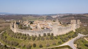 Monteriggioni, Siena, Italy. Drone aerial landscape of the wonderful medieval village. Tuscany, Italy. Monteriggioni, Siena, Italy. Drone aerial landscape of the Royalty Free Stock Image