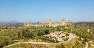 Monteriggioni, Siena, Italy. Drone aerial landscape of the wonderful medieval village. Tuscany, Italy. Monteriggioni, Siena, Italy. Drone aerial landscape of the Royalty Free Stock Photo
