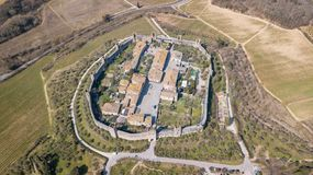 Monteriggioni, Siena, Italy. Drone aerial landscape of the wonderful medieval village. Tuscany, Italy. Monteriggioni, Siena, Italy. Drone aerial landscape of the Stock Photos