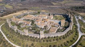 Monteriggioni, Siena, Italy. Drone aerial landscape of the wonderful medieval village. Tuscany, Italy Royalty Free Stock Photos