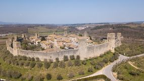 Monteriggioni, Siena, Italy. Drone aerial landscape of the wonderful medieval village. Tuscany, Italy. Monteriggioni, Siena, Italy. Drone aerial landscape of the Stock Images