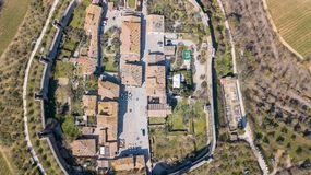 Monteriggioni, Siena, Italy. Drone aerial landscape of the wonderful medieval village. Tuscany, Italy. Monteriggioni, Siena, Italy. Drone aerial landscape of the Stock Photography