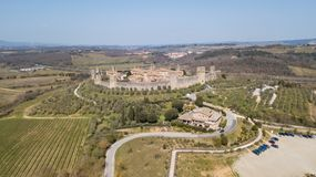 Monteriggioni, Siena, Italy. Drone aerial landscape of the wonderful medieval village. Tuscany, Italy Royalty Free Stock Photo